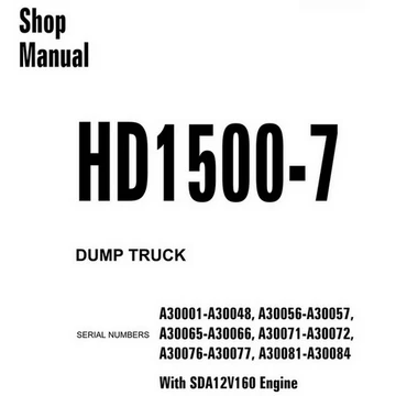 Komatsu HD1500-7 Dump Truck Shop Manual (A30001-A30084