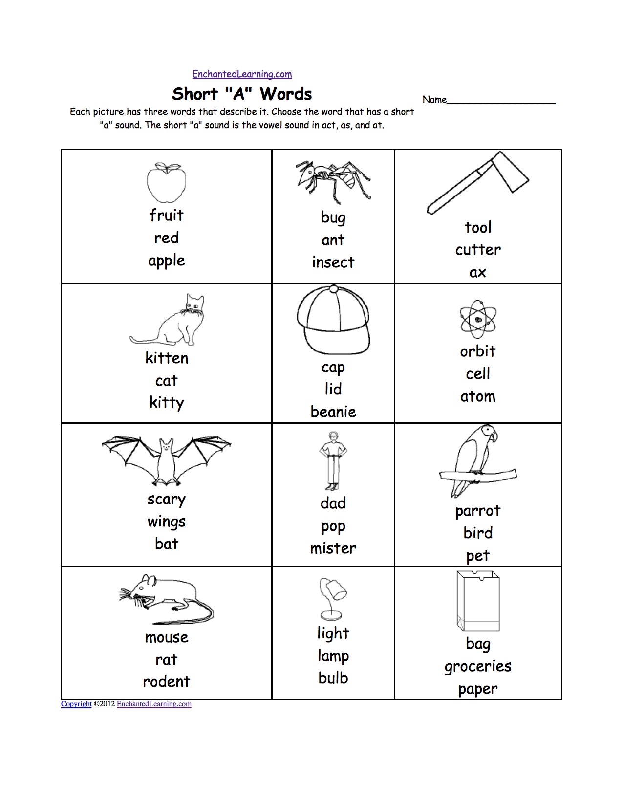 Long A Words Worksheets
