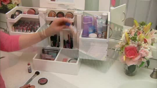 Qvc Makeup Organizer Captivating Luxury Deluxe Wood Cosmetic Box Wmirrorlori Greiner  Qvc And Inspiration Design