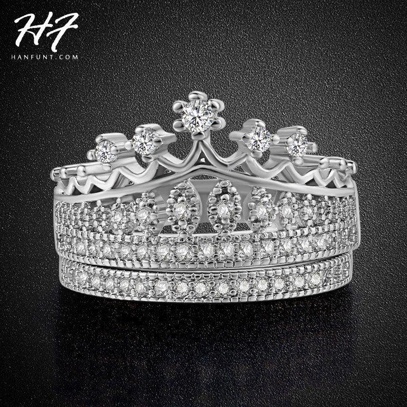 Princess Crown CZ Diamond Wedding Ring Sets Platinum