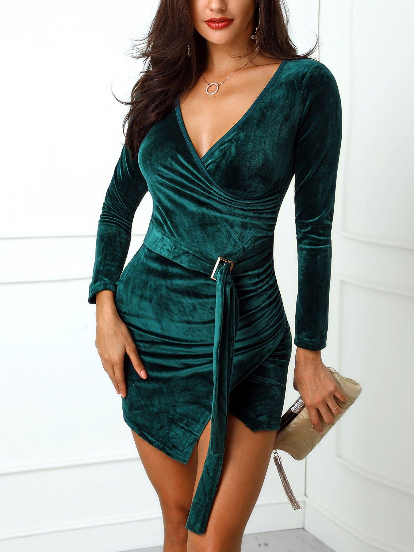 5a97e0b653953 V-Neck Wrap Belted Irregular Velvet Party Dress | Velvet in 2019 ...