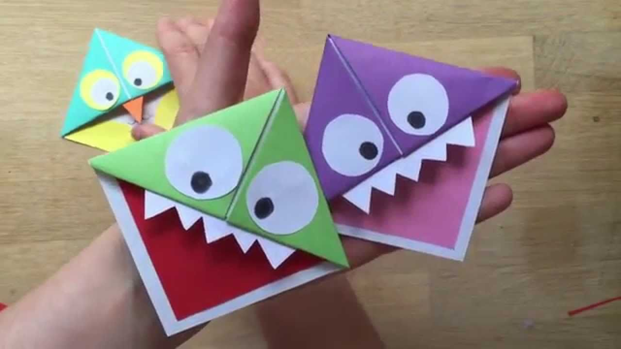 Easy paper monster owl corner bookmarks great little How to make a simple bookmark