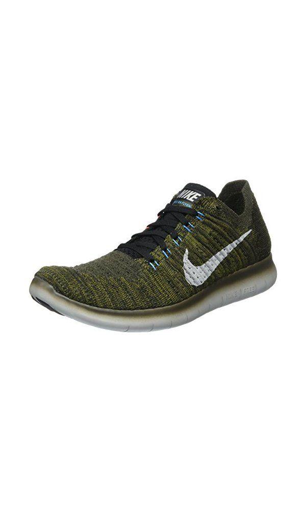 Nike Men S Free Rn Flyknit Cargo Khaki Black Blue Glow Bright Mango 8 D M Us Nike Men Running Shoes Shoe Deals