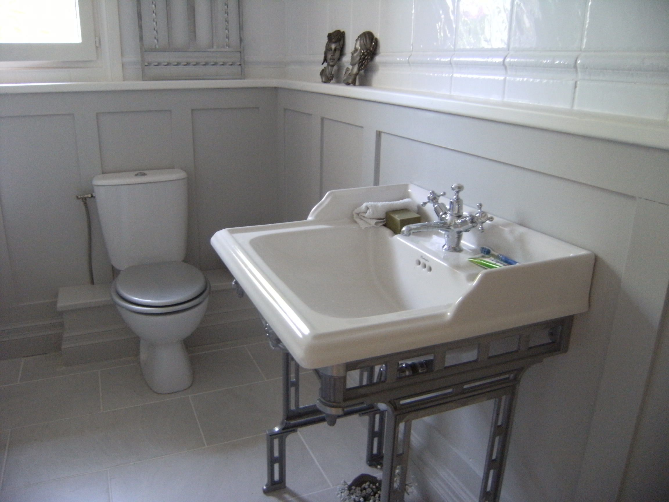 Painted Panelling And Boxing In Around Pipes Bathroom Design Bathroom Box Downstairs Toilet