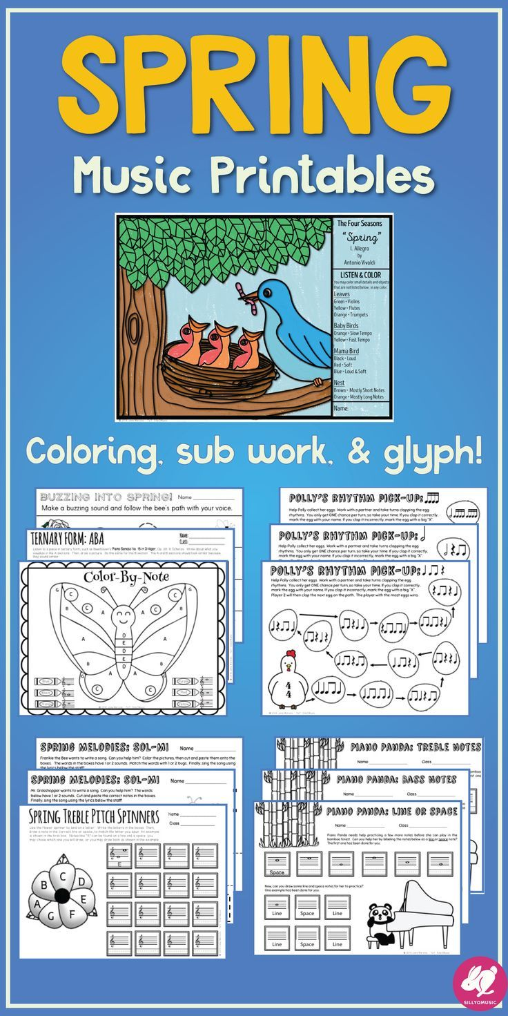 Spring Music Worksheets: Board Games, Printables, & Color by Note ...