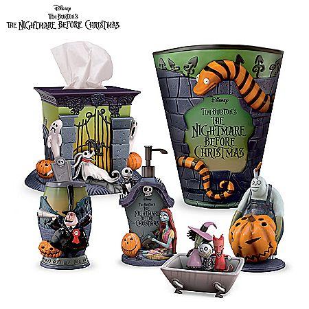The Nightmare Before Christmas 8-Piece Bath Ensemble Tim burton - tim burton halloween decorations