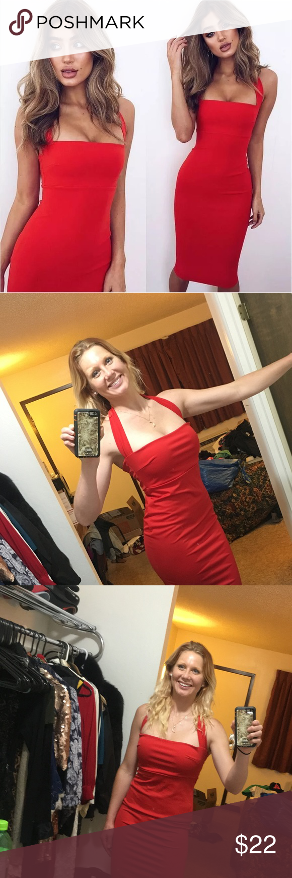 Halter neck red bodycon dress Too large for me. Never worn. should've ordered a Sz M. Showing it with Angels, strapless bra from VS. Dresses Strapless