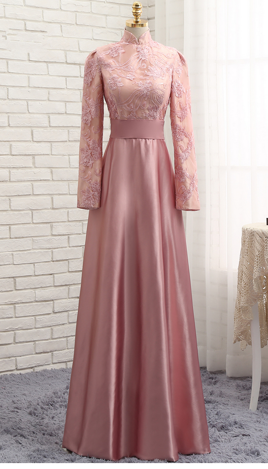 c0e600f94f9 Pink Muslim Evening Dresses A-line Long Sleeves Satin Sequins Elegant Long  Evening Gown Prom Dress Prom Gown