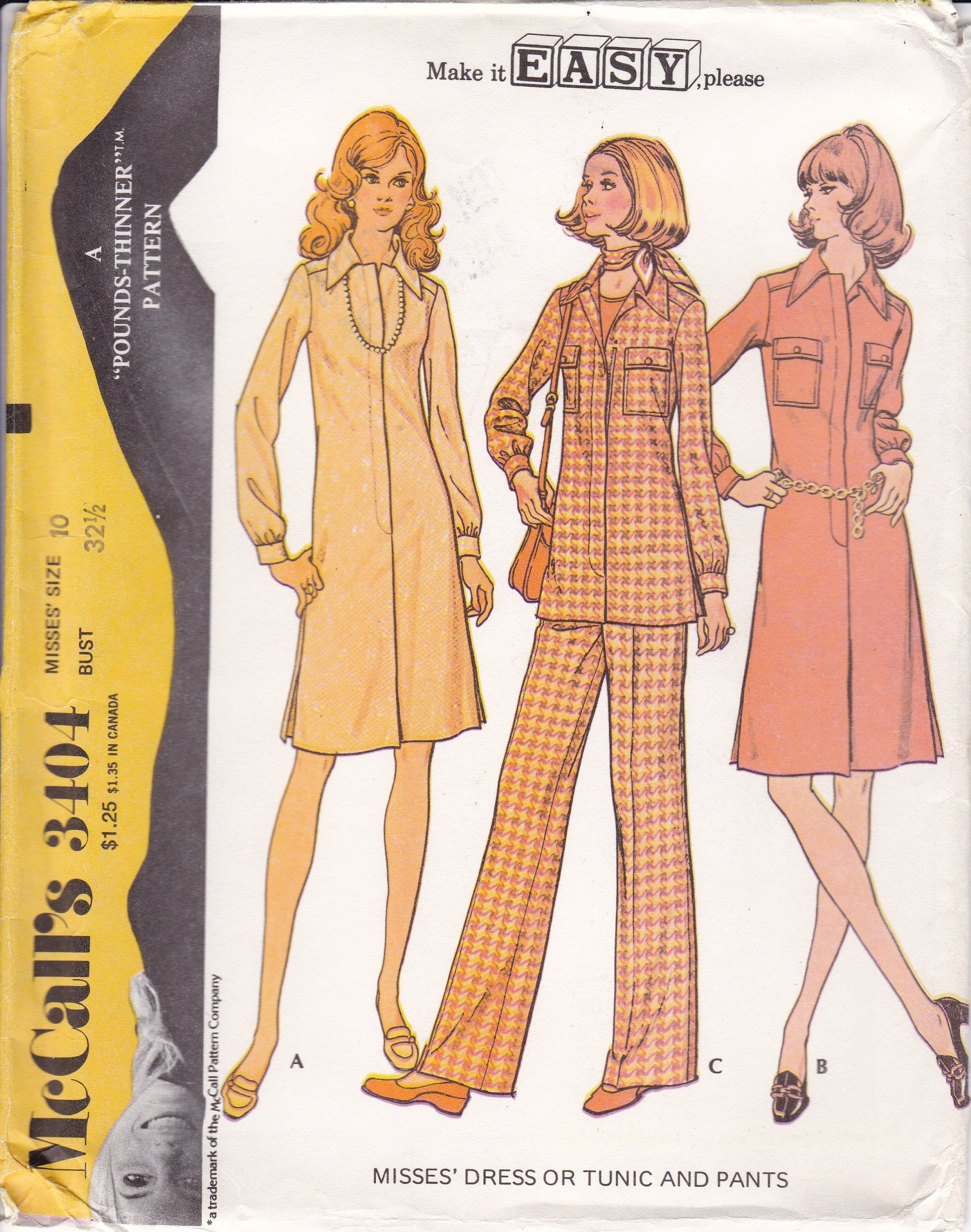 Vintage Sewing Pattern Mccall S 3404 Retro 1970 S 70 S Ff Uncut