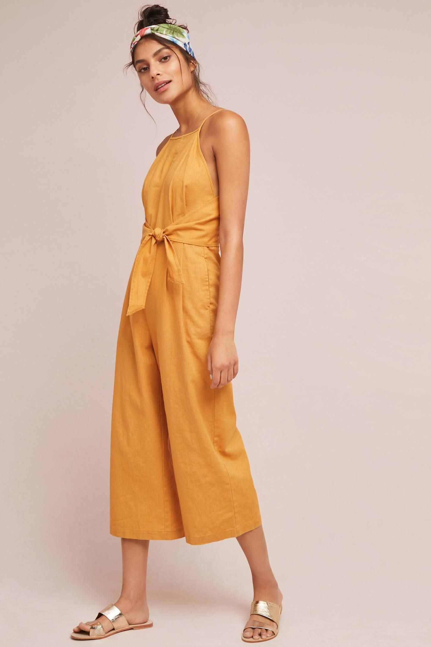 e93ea63bd68 Shop the Tied Linen Jumpsuit and more Anthropologie at Anthropologie today.  Read customer reviews