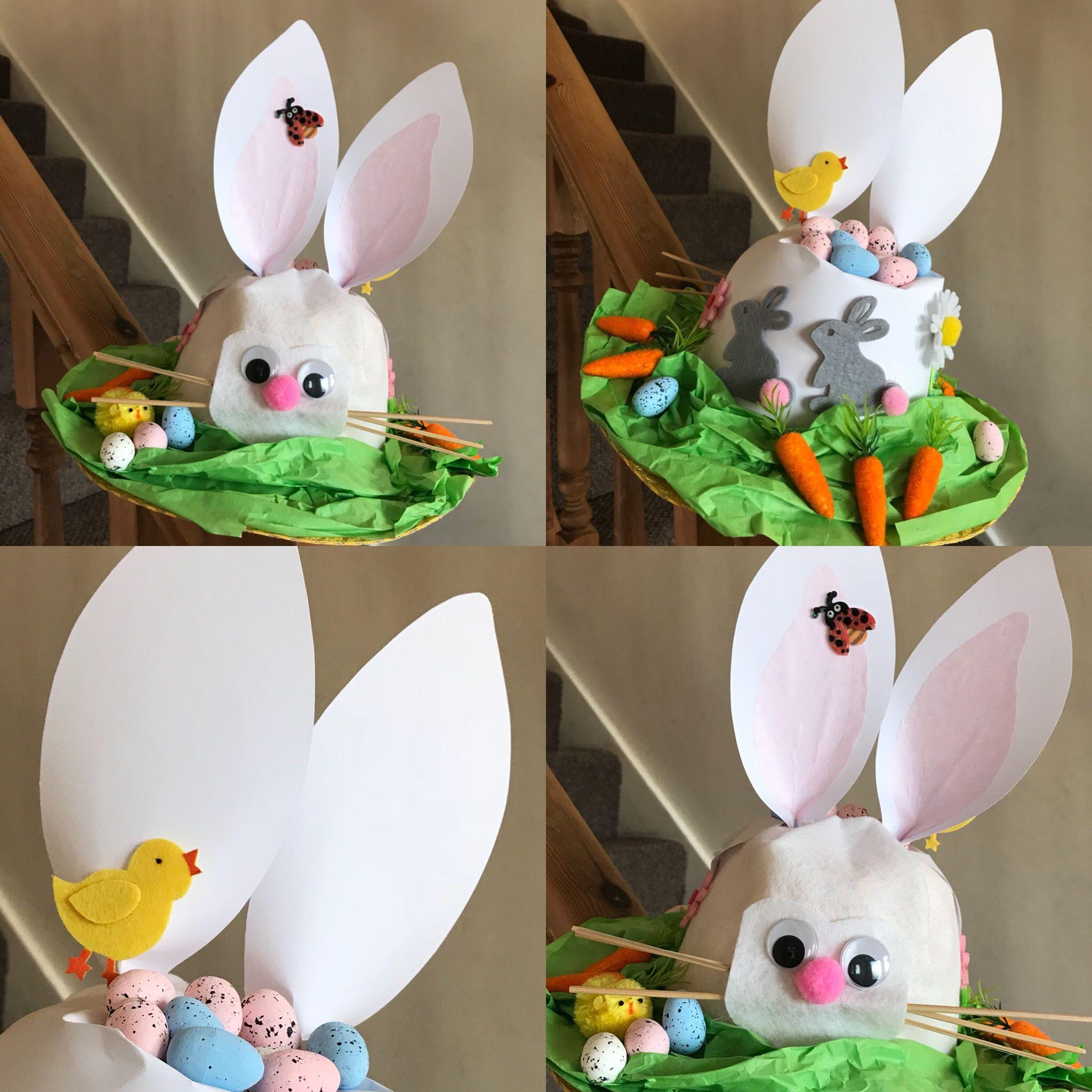Set 2 Wooden Bunny Signs Easter Arts Craft Bonnet Decorations Egg Hunt