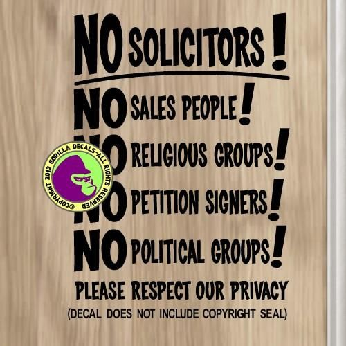 No Soliciting Outdoor Vinyl Decal Sticker Solicitor Soliciting Sign Trespassing