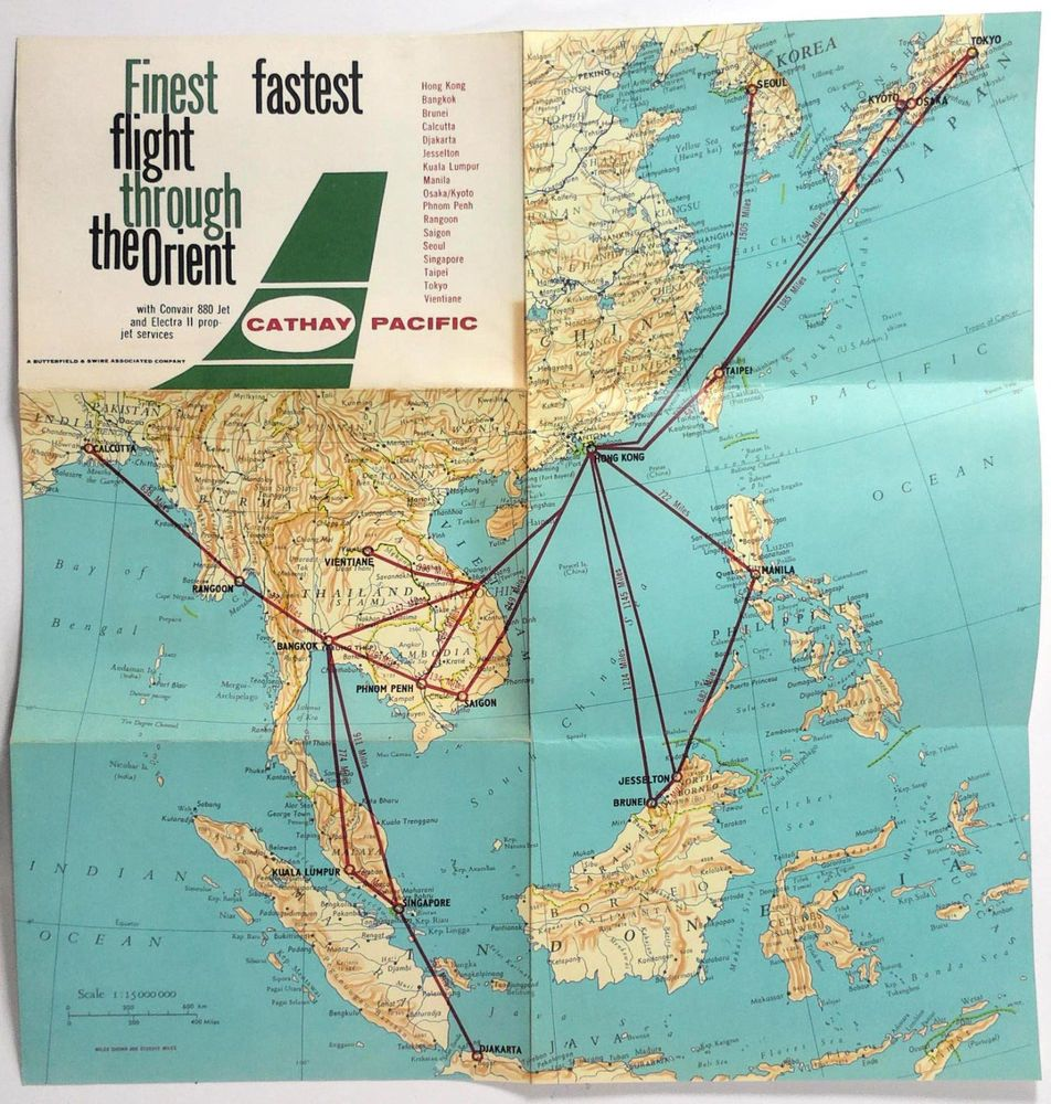 1960s Jets Aviation Asia Map Air Ride