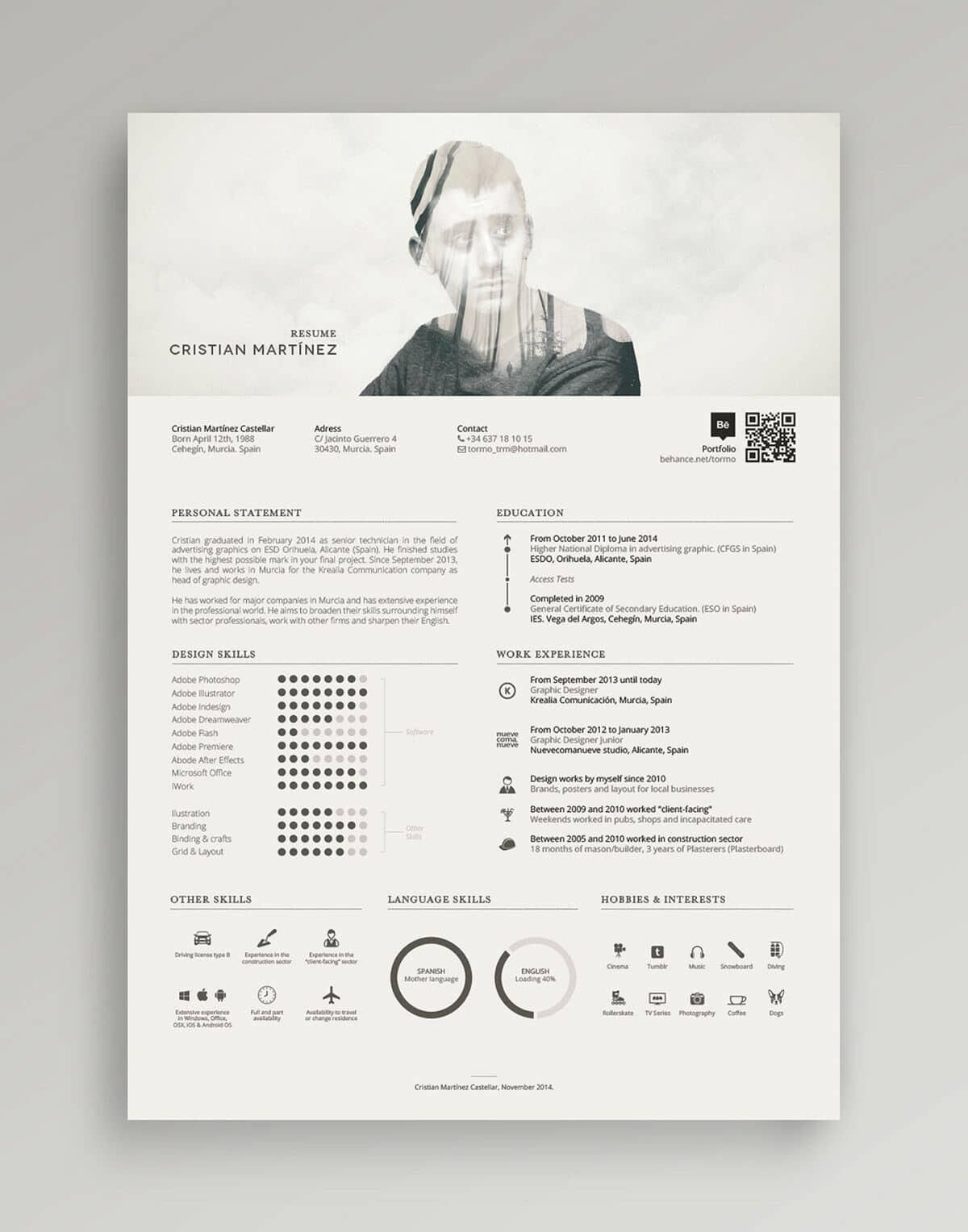 Example Of Modern Resume With Photo  Graphics