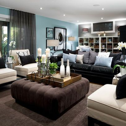 Living Room Decorating Ideas With Black Leather Sofa Furniture Brown Living Room Decor Brown And Blue Living Room Basement Living Rooms
