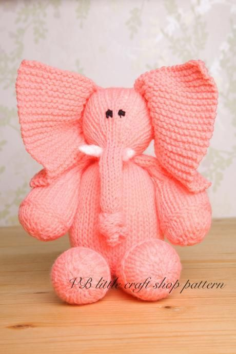 Elephant soft toy knitting pattern. One ball knit! | baby showers ...