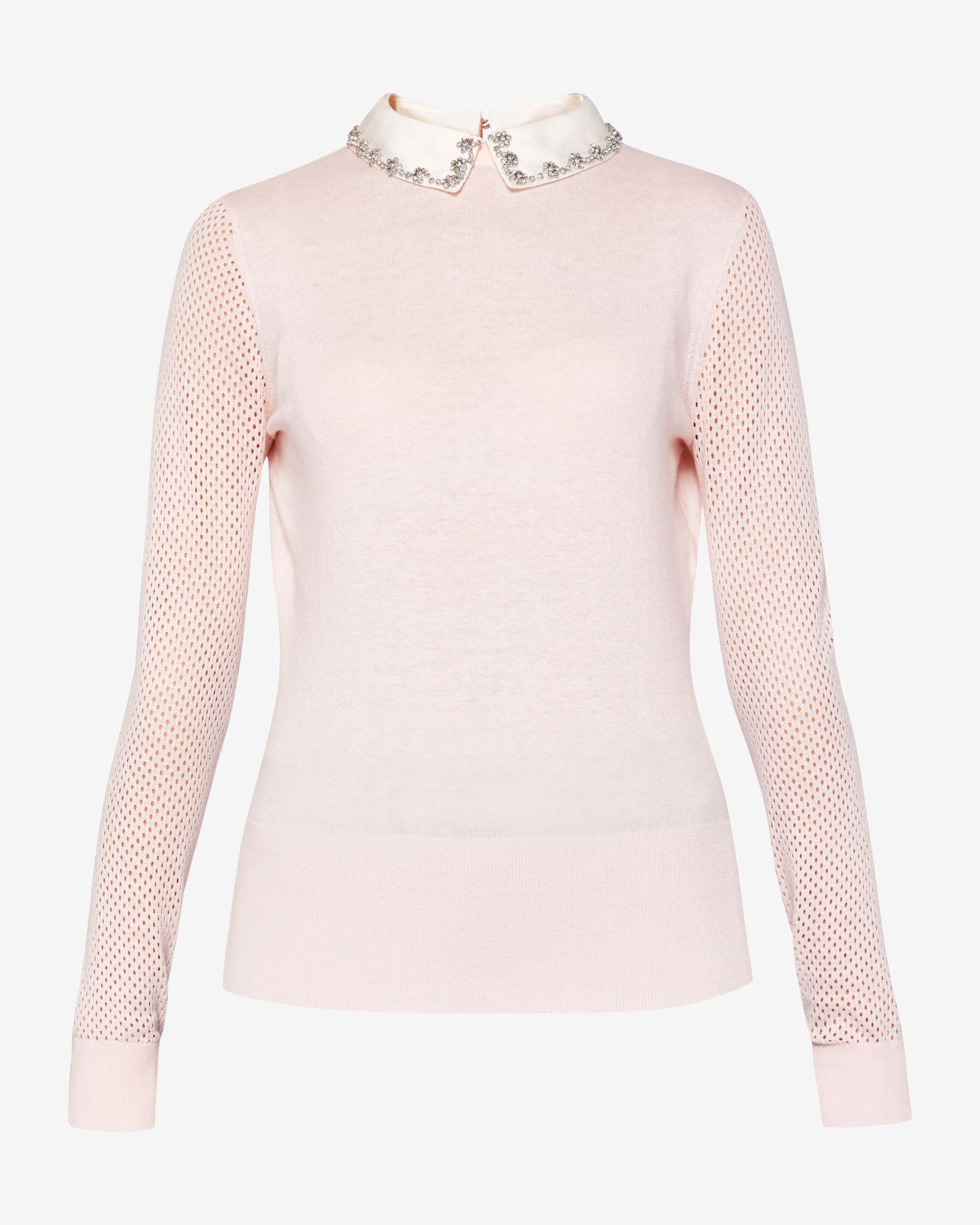 77545ff25d4e2a Embellished collar silk-blend sweater - Pink