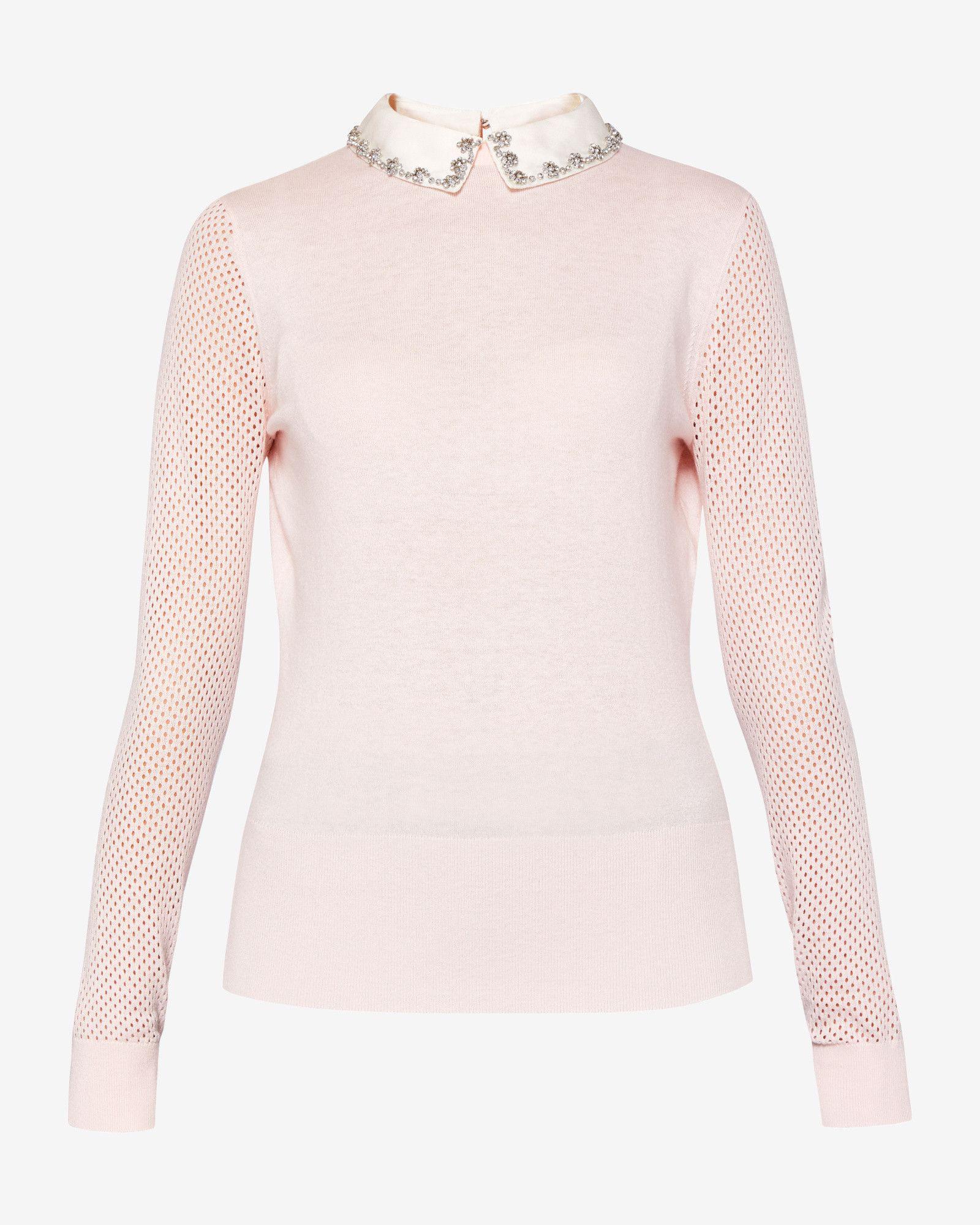 901b0f19f4afb Embellished collar silk-blend sweater - Pink