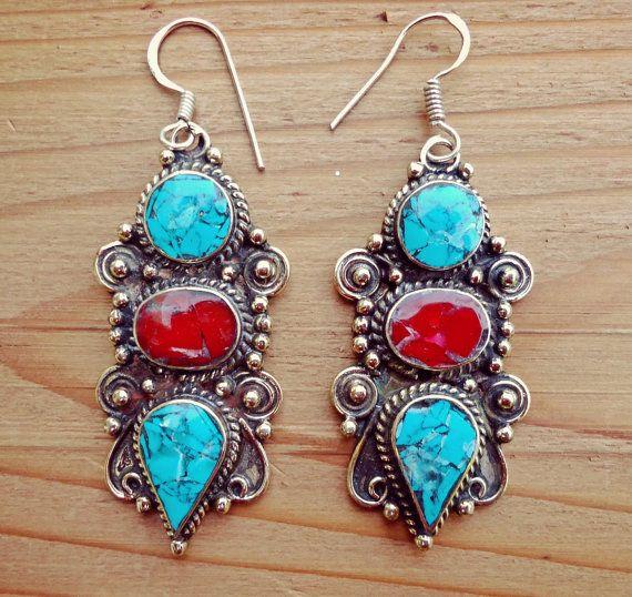 Sterling Silver Tibetan Turquoise Hook Earrings by ZamarutJewel