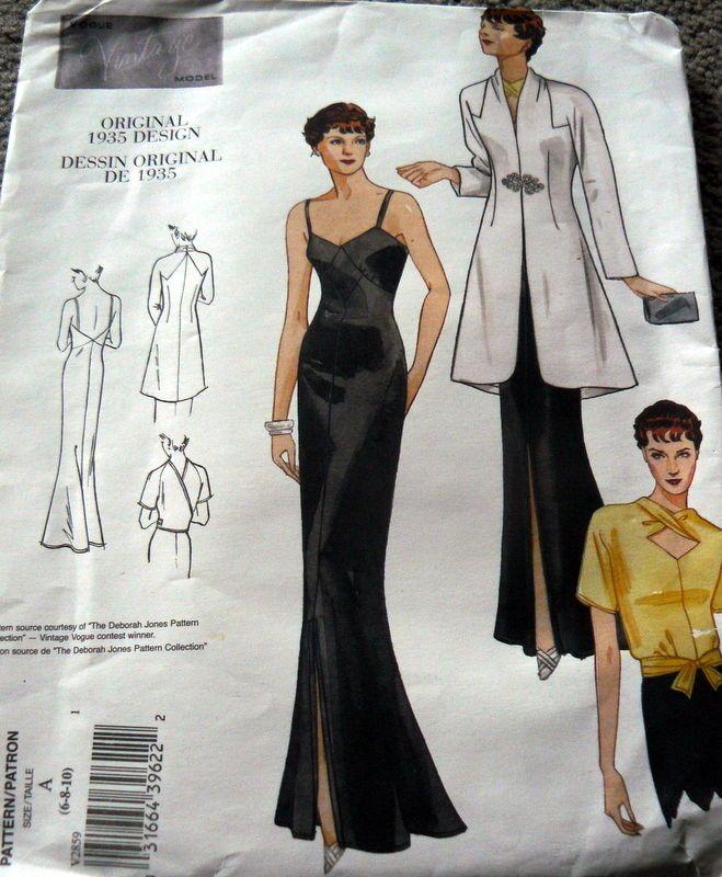 1930s VOGUE VINTAGE MODEL EVENING DRESS COAT & BLOUSE SEWING PATTERN ...