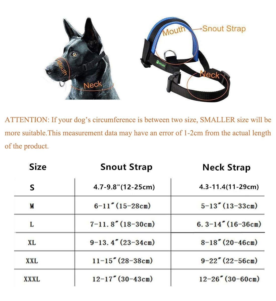 Dog Muzzle for Large Dogs Prevent from Biting,Barking and Chewing,Adjustable Loop