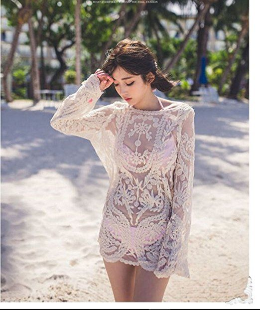 Women's Clothing Summer Style Women Sexy V-neck Transparent See-through Loose Beachwear Bikini Smock Sunscreen Blouse Tops