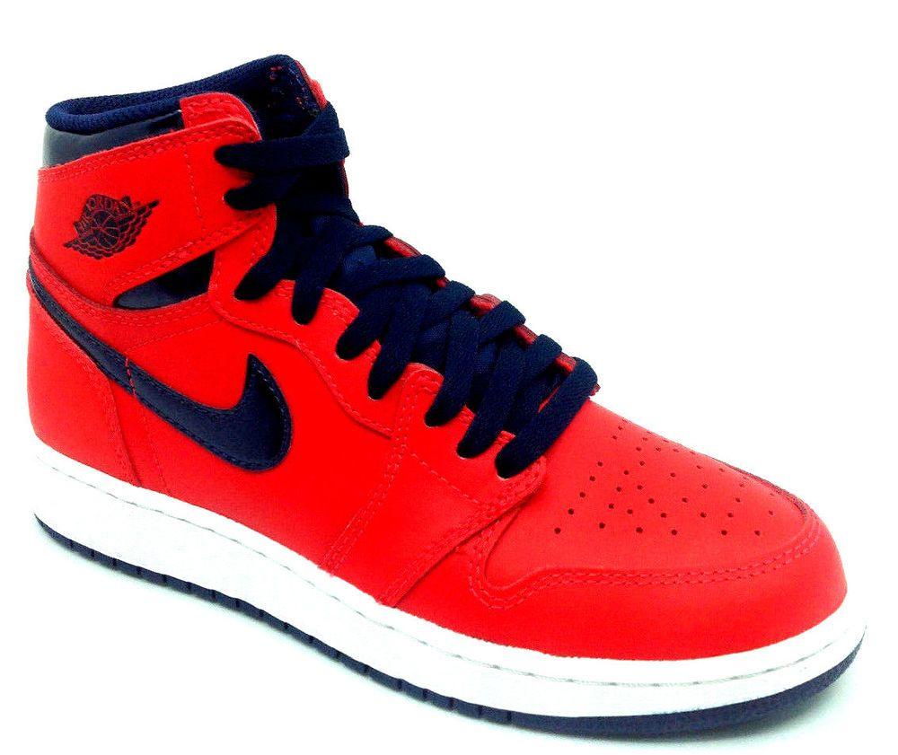 Ebay Sponsored Nike Air Jordan 1 Retro High Og Bg Boys Shoe Red