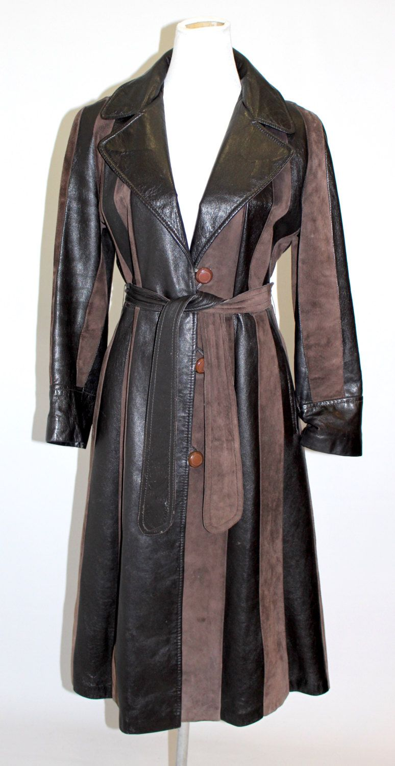 RESERVED FOR LIZ***** • 1970's Women's Leather Trench Coat