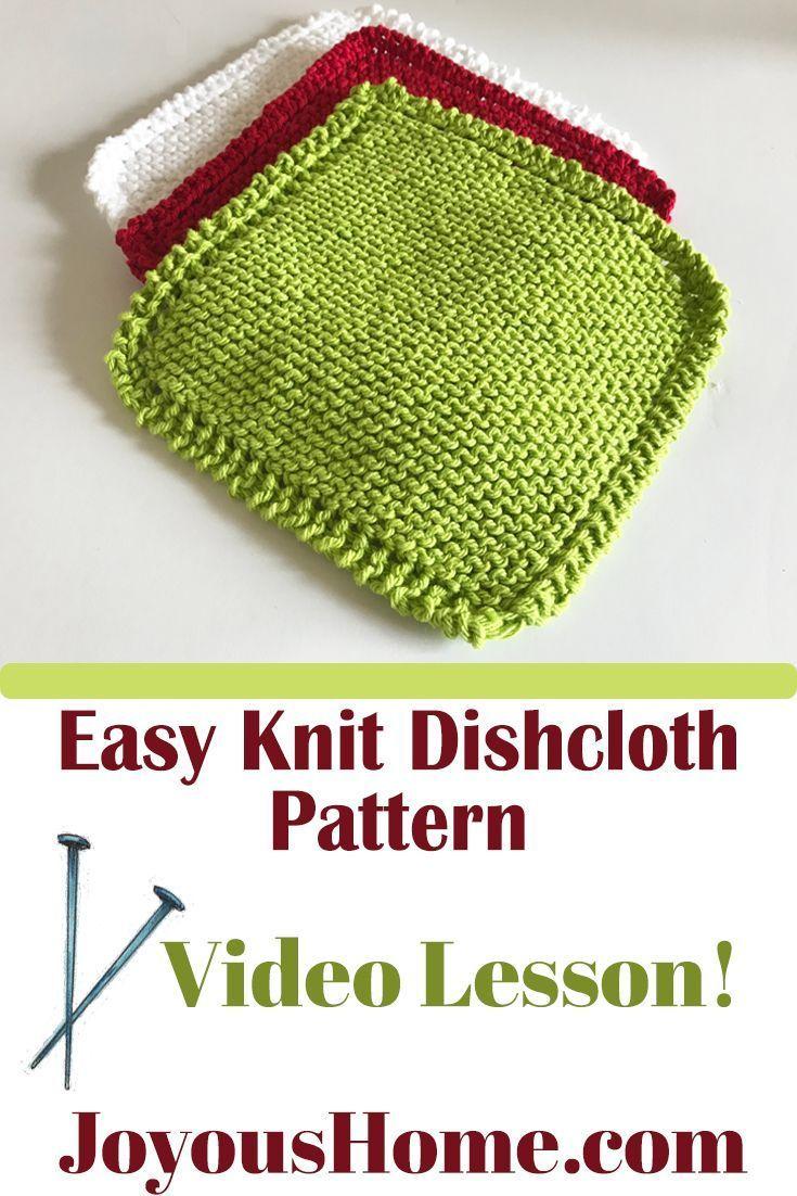 Easy Knit Dishcloth Pattern Video Lesson, Beginner Friendly ...