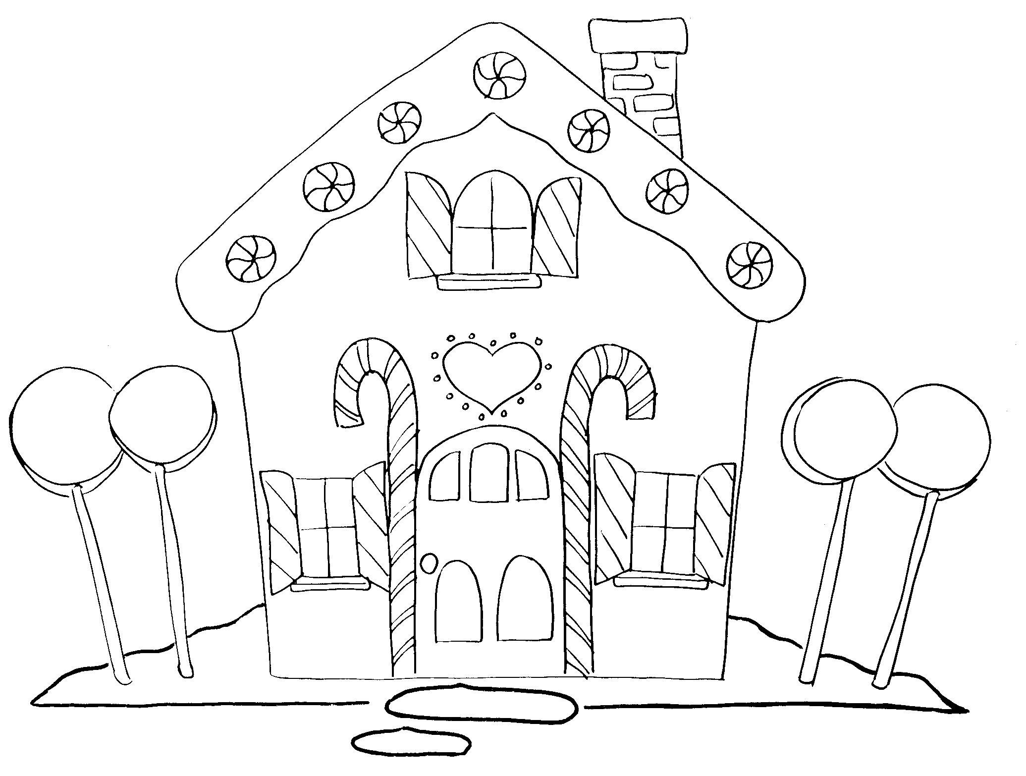 9 coloring pages of gingerbread houses