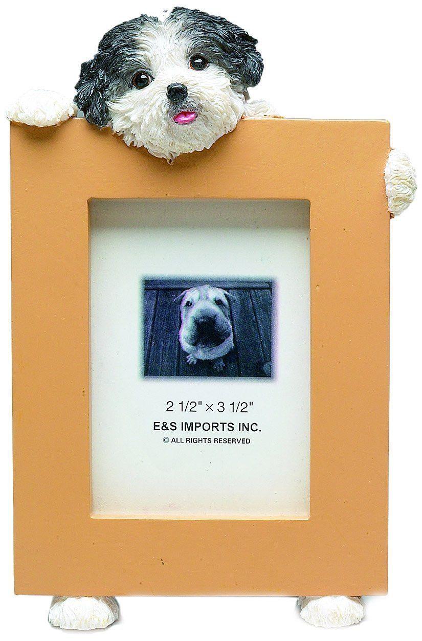 Shih tzu black puppy dog picture frame holder perros pinterest