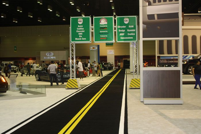 <p> Ford Motor Company's display at the 2011 Model Central Florida International Auto Show in 2010 featured directional signage resembling...