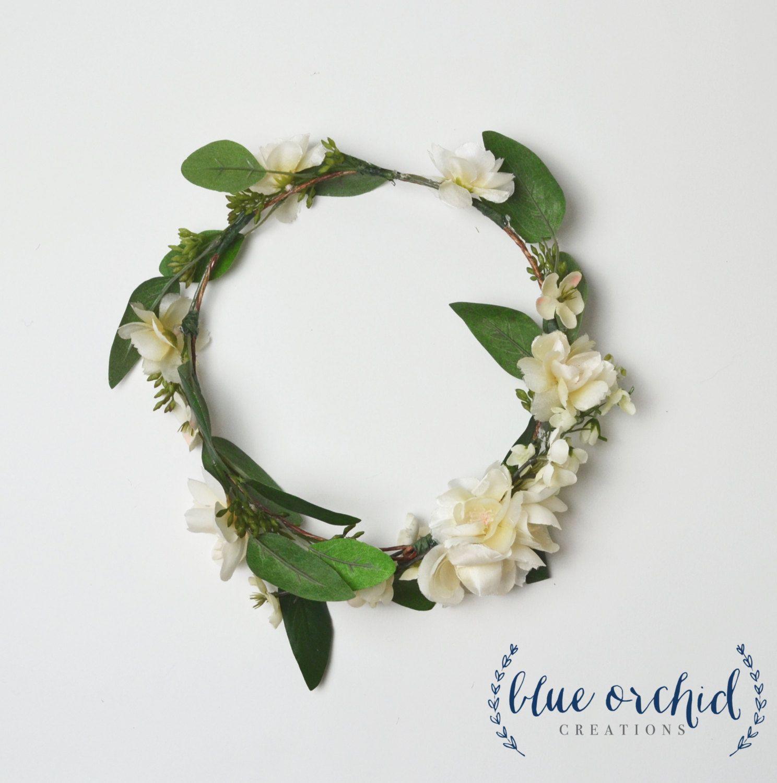 Wedding White Flower Crown: Flower Crown, Boho Flower Crown, Silk Flower Crown