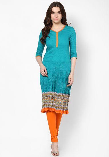 Cotton Aqua Blue Printed Long Kurta - Anahi Kurtas & kurtis for women | buy women kurtas and kurtis online in indium