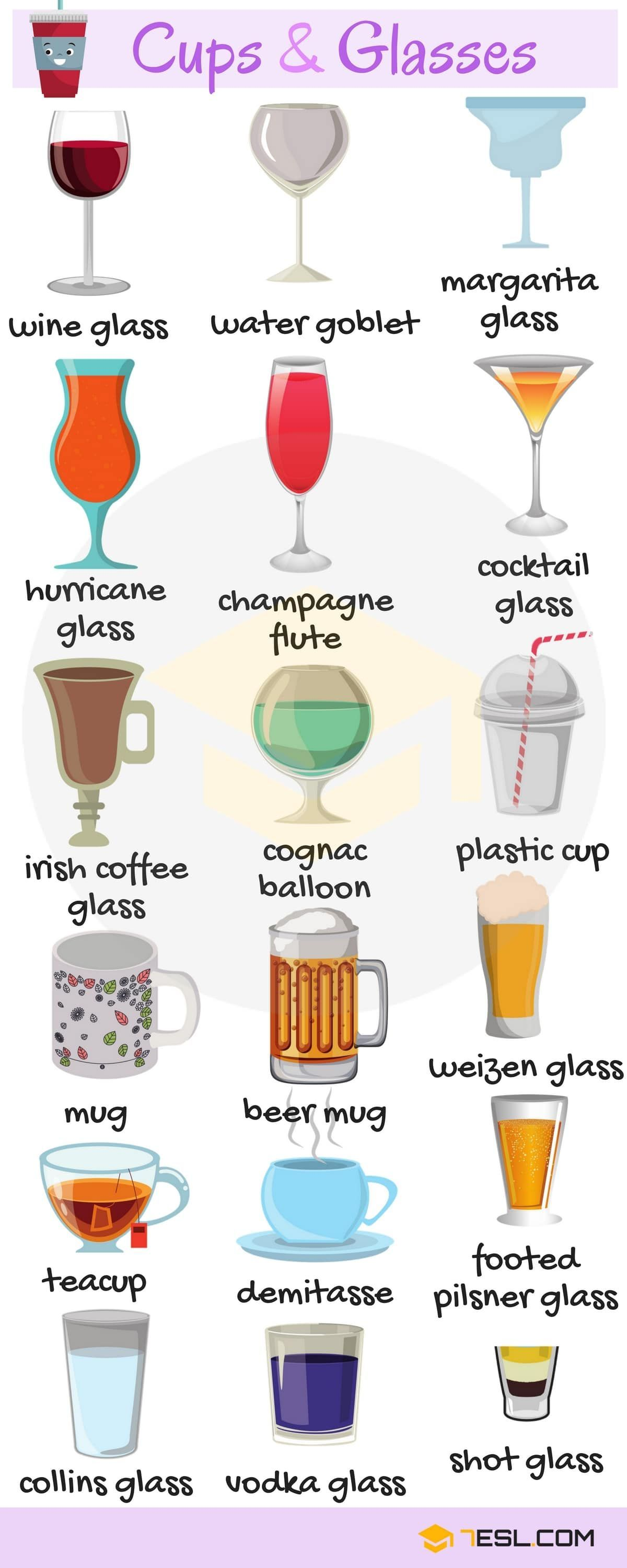 Learn Cups and Glasses Vocabulary in English | Ingilizce | Pinterest ...