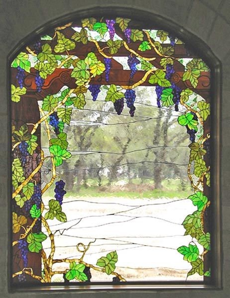 Zoom To Close Up Of Custom Stained Glass Grapes Window