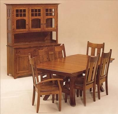 beautiful amish made 1 4 sawn oak dining table services de table chaises de