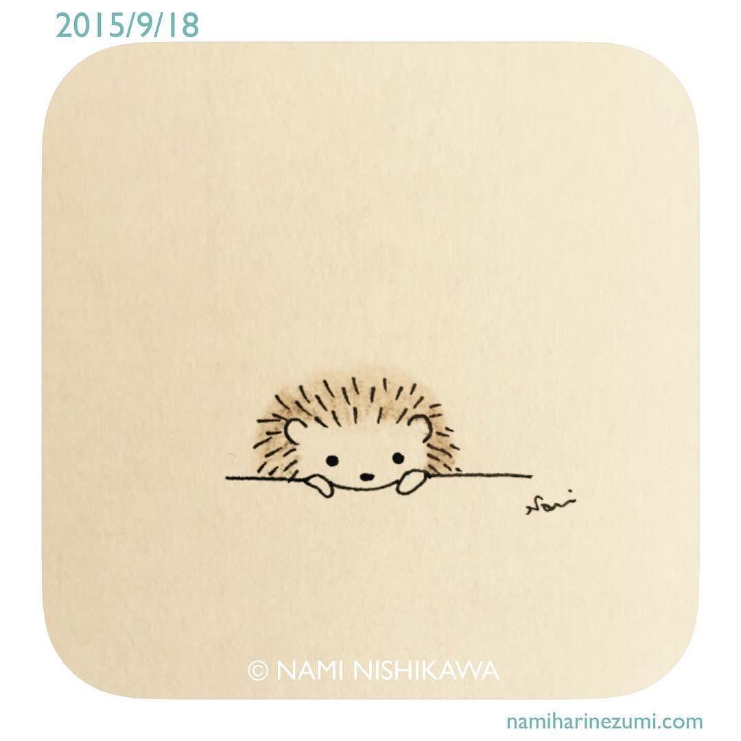 613 ねぇ、ねぇ。 hey #illustration #hedgehog #イラスト