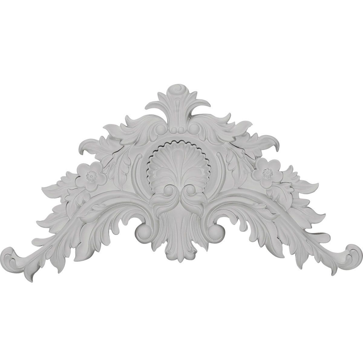 16 1 4 Inch W X 8 3 4 Inch H X 1 5 8 Inch P Small Shell Center With Scrolls Ekena Millwork Millwork Wood Appliques