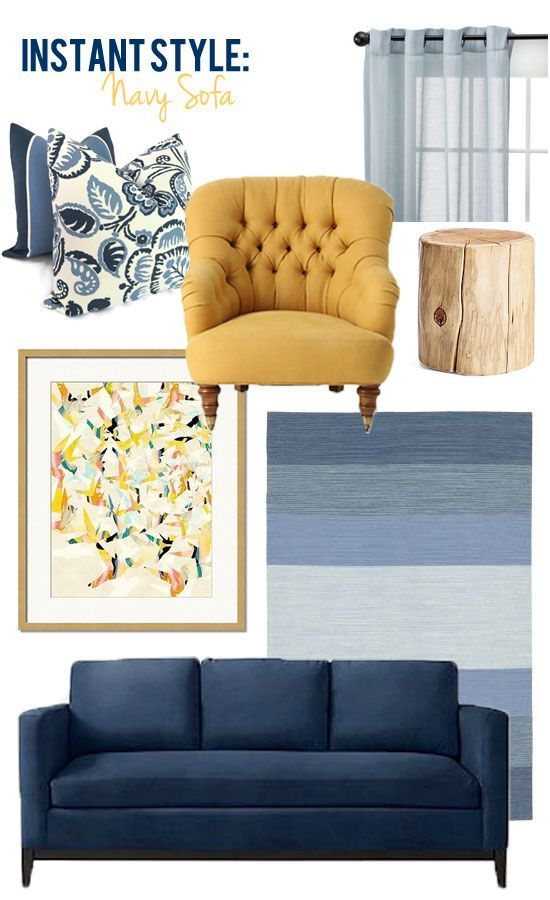 Style Edition Blog Navy Blue Sofa We Could Bring In Mustard Too Blue Sofas Living Room Blue And Yellow Living Room Blue Couch Living Room