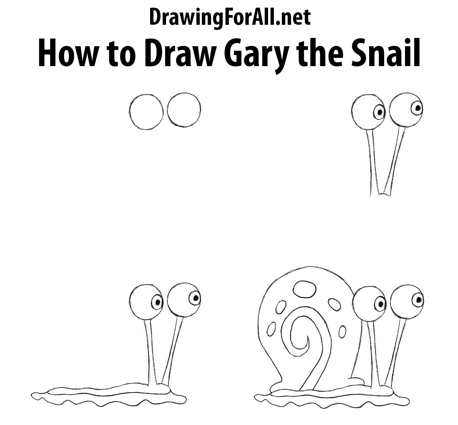 How To Draw Gary The Snail From Spongebob How To Draw Drawings