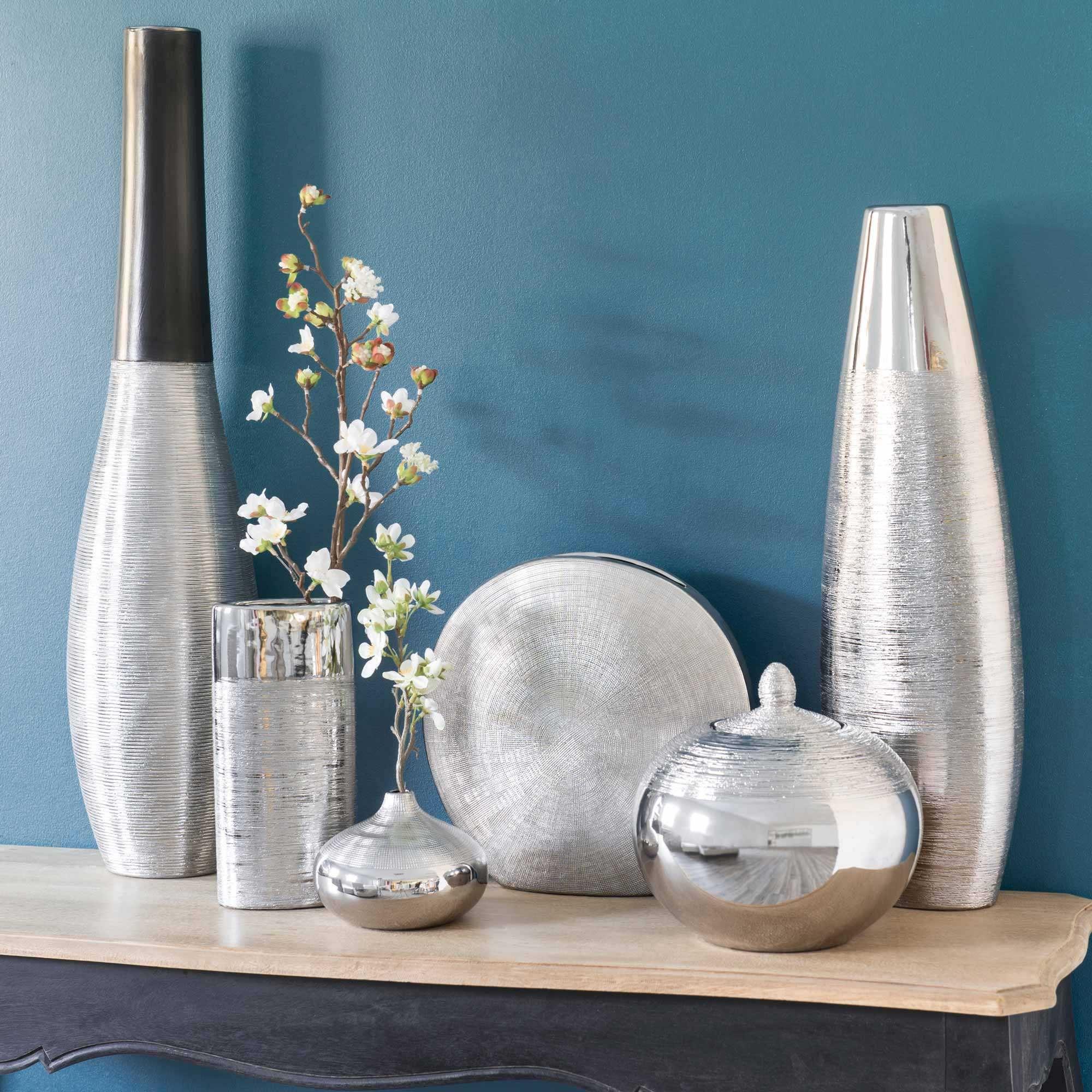 vase boule en gr s argent h 10 cm vase maison du monde