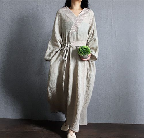 "03b963149df 3 Colors 100% Linen Caftan Kaftan Plus Size Clothing Women Linen Maxi  Dress Batwing Sleeve V neck Loose Lope Bust 150cm 59"""