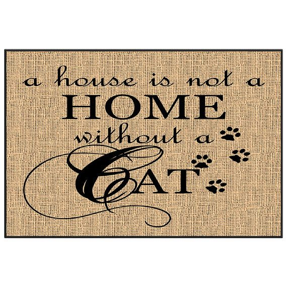 Cat Doormat Burlap Image Welcome Mat Novelty By