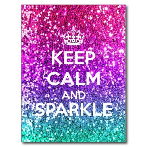 Keep Calm and Sparkle Glitter LookLike Rainbow Postcard
