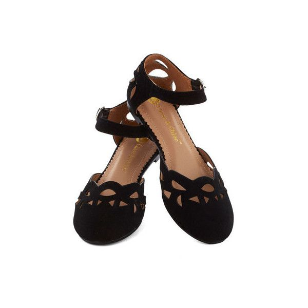 ModCloth Seedless Romantic Flat found on Polyvore featuring polyvore, fashion, shoes, flats, black, zapatos, sapatos, ballet flat, flat and black flat shoes