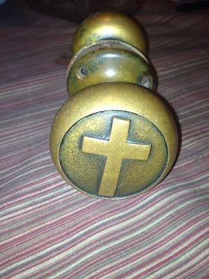 Antique Door Knobs Escutcheons Old Church Brass Embossed Cross ...