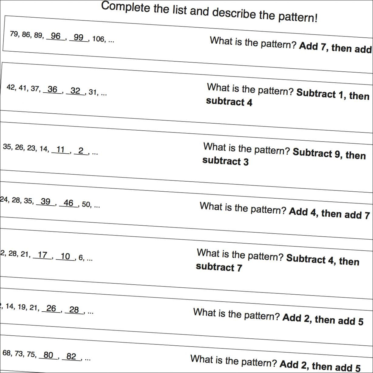 Math Worksheets Addition And Subtraction Patterns Number Patterns Worksheets Pattern Worksheet Math Worksheets [ 1228 x 1228 Pixel ]