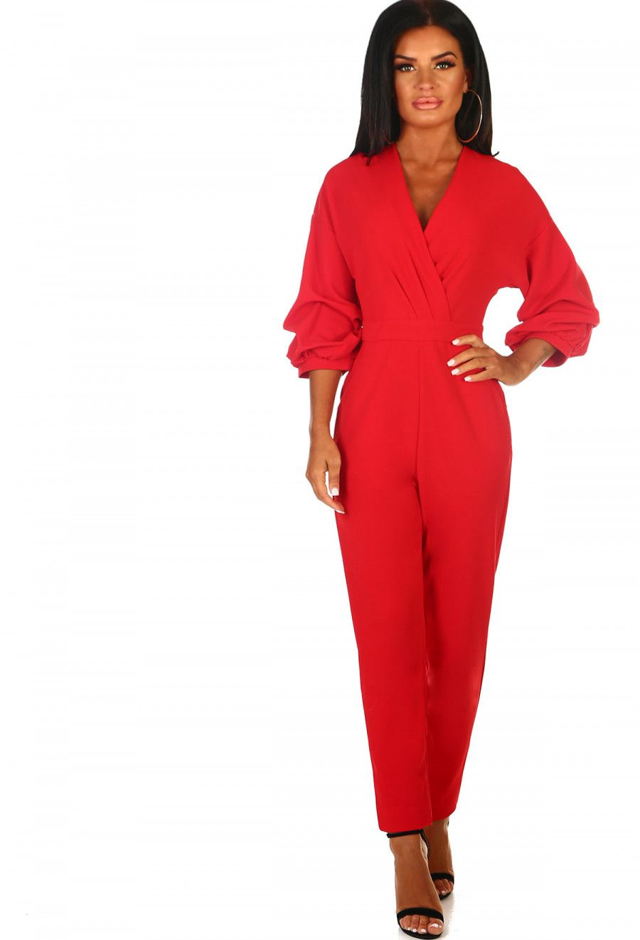 3a096541c027 Crazy For You Red Ruched Sleeve Wrap Jumpsuit - 8