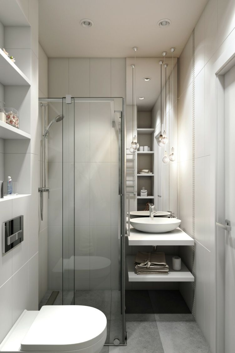 Bodengleiche Dusche Klein Badezimmer Waschkonsole Eingebaute Regale Toilette Kleine Badezimmer Design Badezimmer Design Kleine Badezimmer